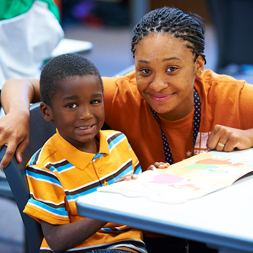 Hope after-school program student and teacher